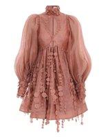 차오 브랜드 중공업 산호 핑크 핑크 원래 조각 수 놓은 구슬 장식 중공 허리 닫는 파 슬리브 미니 드레스