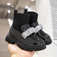 Boots Girls Patent Leather Knitting Patchwork Ankle Fashion Rhinestone Single Anti-slip Casual Princess Shoes G342