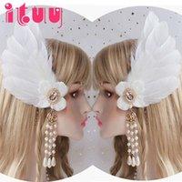 Autre fête d'événement Fournitures Clip côté Lolita Plume Blanc Angel Ange Fleur Fleur Pearl Tassel Coiffure de mariage Accessoires d'ornement