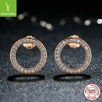 WOSTU Hot Fashion 100% 925 Sterling Silver Lucky Forever Circular Stud Earrings For Women Authentic Original Jewelry Gift 984 T2