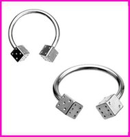 10pcs Set Titanium Steel C Rod Dice Nose Ring Silver European and American Classic Labret Body Piercing Eyebrow Ring