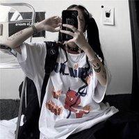 Женская футболка Laterimeelon Cool Devil Thirt Tshirt Опорная Япония Готические вершины Летние Белые Тройники Причинные Хараджуку Негабаритные Панк Молодежные футболки MA