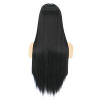 Peluca de cabello fintética, juegos de pelos largos de tendencia recta, pelucas artificiales de fibra adecuadas para todo tipo de personas en Europa y América, mujeres negras blancas