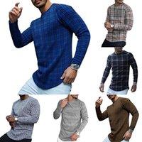 캐주얼 긴 소매 격자 무늬 인쇄 티셔츠 남자 가을 패션 o 넥 풀오버 2021 봄 남성 플러스 사이즈 스트라이프 탑 티 스트리트웨어 남자의 t-shir