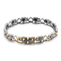 Fashion Women Color Gold Germanium Bracelets Titanium Steel Hollow Hearts Health Magnets Energy Healthy Bracelets Jewelry