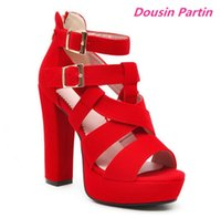 Dousin Partin Women Sandals Square Super High Heel Peep Toe Scrub Double Buckle Gladiator Sexy Ladies Pumps