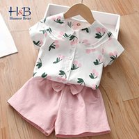Humor Bear Girls Clothes Sets Summer Short Sleeve Cartoon Shirt+ Shorts 2Pcs Casual Outfits Kid Clothing