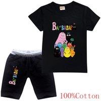 의류 세트 바베이파파 만화 디자인 재미 있은 어린이 T 셔츠 + 반바지 세트 소년 소녀 여름 탑 티 티 할로윈 어린이 옷