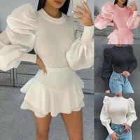 Fall Ribbed Top Blouse For Women 2021Fashion Elegant Long Puff Sleeve Patchwork Retro Shirt Feminina Tops White Black Women's Blouses & Shir