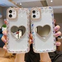 Мода Clean Crystal Hrinestone Diamond Hard PC TPU Зеркало Телефонные Четыре Противотударные Чехол для iPhone 7 8 Plus XR XS 11 12 Pro Max