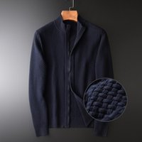 100% Cotton Sweater Men Luxury 3d Jacquard Fabric Stand Collar Male Fashion Zipper Knitted Sweaters Man Plus Size Men's