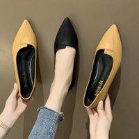 단일 신발 여성의 평평한 바닥 2021 레트로 모든 일치 부드러운 바닥 사계절 얕은 입을 편안한 전문 작업 신발