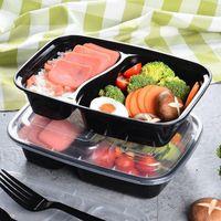 Novo 150set / lote plástico descartável Bento Box De Armazenamento de Refeição de Alimentos Pré-almoço Caixa de Almoço 2 Compartimento Microwavable Recipientes Lunchbox Home EWD7640