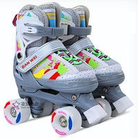 Girls Boy Kids Child Adjustable Quad Roller Skates Shoes Sliding Sneakers 4 Wheels 2 Row Line Outdoor For Beginner Inline &