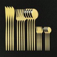 Dîner DHL Dîner 20pcs Couverts en acier inoxydable Vaisselle de la vaisselle à gâteau Fourchette Ensemble de couteau de vaisselle Vaisselle à la maison Couverts de miroir d'or moderne Set1