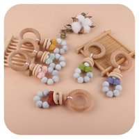 Beech Wood Baby Teethers Toys Rattle Silicone Beads Infant Soothers Feeding Accessories Newborn Nursing Teether Toy