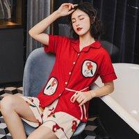 Nachtwäsche Yema Yeye Neue Pyjamas Damen Sommer Baumwolle Cartoon Kurzarm Casual Thin Cardigan Home Anzug Kann mit WP8V abgenutzt werden