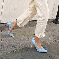 Scarpe tacco alto in pelle opaca di marca scarpe nude marrone rosso pompe poco profonde celebrità 8 cm tacchi a spillo piccolo 31-42 210610