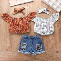 Baby Mädchen Stirnband Pullover Kurzarm T Shirt Tops Denim Shorts Set Sommer Drei Teil Set Kinder Kleidung Mädchen Heiße Hosen G4i8Z1e