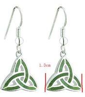 Solid 925 Sterling Silver Girl's Dangle Earring GreenTurkey Irish Triquetra Celtic Knot Amulet Fishhooks Ear Ring Jewelry For Lady