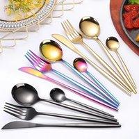 DHL новые 4шт / набор черных золотых столовых приборов набор 18/10 посуда из нержавеющей стали серебро