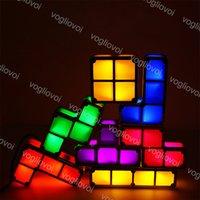 Night Lights DIY Tetris Puzzle 3D LED Induction Stackable Constructible Block Desk Lamp 7 Colors Novelty Toy Children Kids Gift DHL