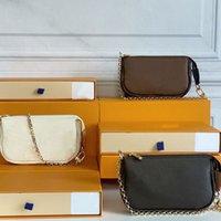 M58009 미니 Pochette 액세서리 작은 핸드백 Womens 어깨 가방 클래식 체인 토트 패션 가죽 클러치 디자이너 Box N58010 N58009와 함께 지갑