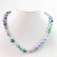 Multicolor violeta piedra calcedonia jades 10 mm cuentas facetas redondas DIY collar de cadena para mujeres Joyería elegante 18 pulgadas B635 Cadenas