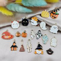 Encantos 10 unids serie de halloween aleación de aleación aceite de bricolaje accesorios de joyería de bricolaje fantasma fantasma cabeza calavera cráneo haunted house colgante material