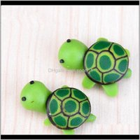 Arti e artificiali Carino Green Tortoise Animali Fiaba Miniature Gnomi Gnomi Moss Terrari in resina Artigianato Figurine per la decorazione del giardino 0 TM3Hz