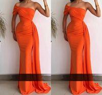 Orange Arabic Dubai Chic Sexy Mermaid Evening Dresses With Sweep Train One Shoulder Satin Women Long Prom Dress vestidos