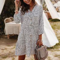 Casual Dresses Fashion Boho Beach Women's Floral Long Sleeve V-neck Button Slim Mini Sundress Autumn Party Holiday Vestidos