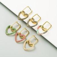 Fashion CZ Heart Hoop Earrings for Women Colorful Crystal Cubic Zircon Heart Drop Dangle Earrings Designer Earring Vintage Jewelry Christmas