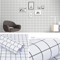 Wallpapers 45cm*10m Classic Contracted Grid 3D Wallpaper And Waterproof Self-adhesive PVC Wall Paper For Home Decoration Livinghome