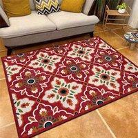 Einfache geometrische Mosaik-Teppich im europäischen Stil Royal Blau Rot Blumenteppich Wohnzimmer Schlafzimmer Bettdecke Küche Bodenmatte Teppiche