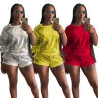 Эстетические напечатанные женщины из двух частей костюм Scectsuits повседневная с длинным рукавом O-шеи футболки T-рубашки Топы + велосипедные тренировки шорты салона гусеницы