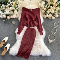 Neploe جديد قطعتين الجلوس مثير الخامس الرقبة ضئيلة الخصر محبوك الوليد + بلون bodycon تنورة النساء الخريف أزياء البدلة 210423