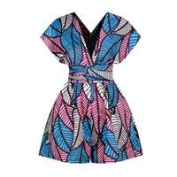 Moda Mulheres África Roupa Dashiki Verão DIY Lace Up Jumpsuit Calças Curtas Pé Largura Vestidos Africano Senhoras Plus Size Roupas