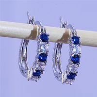 Hoop & Huggie Earrings New Arrival Jewelry Friends 18K White Gold Plated Earing Big Diamond stud for Women Green, Blue, Purple, Red Zircon