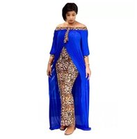 Spring Autumn Fashion Loose Leopard Women Maxi Dresses Long Split Gown Leisure Outdoor Patchwork Strapless Sexy African Dress