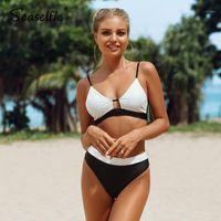 Seaselie sexy schwarz und weiß colorblock bikini sets badeanzug mittel tailliert zwei stücke badebekleidung frauen 2020 strand baden anzüge1