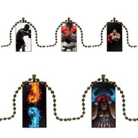 Для женщин девушки ручной работы удивительный бокс человек минималистский перчатка стекло кабошон кулон ожерелье прямоугольник модные ожерелья