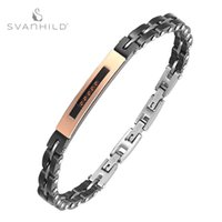 Zircon Inlaid Curved Brand Bracelet Black Rose Gold Ceramic Stainless Steel Men's Can Be Engraved