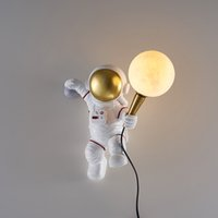 Restaurant Study Indoor Wall lamp Personality Protection LED Wall Light Creative Bedroom Children's Room Bedside Decorative Lighting Nordic Astronaut Moon Lamps