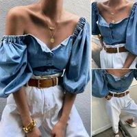 Women's Sexy Streetwear Denim Tops T-Shirt 2021 Summer Fashion Vintage Puff Half Sleeve Low Cut Blue Shirt Clothes Females