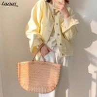 Женские куртки Luzuzi джинсовая куртка для женщин негабаритные 2021 весна осень с длинными рукавами джинсовая женская женщина плюс размер желтого повседневного пальма