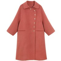 Women's Wool & Blends 2021 Long Double-sided Woolen Cloth Coat Doll Collar Fashion A Line Loose Straight Ladies Single-breasted Warm Winter