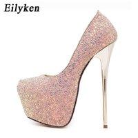 Eilyken Women Pumps Bling Personality Sexy 16 cm High heel Temperament High-heeled shoes Round Toe Pumps size 34-45 210615