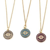 Pendant Necklaces Turkish Evil Eyes Gold Necklace For Women Red Blue Crystal Round Dangle Stainless Steel Fashion Party Jewelry