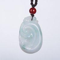 Commercio all'ingrosso cinese intagliato a mano Birmania Jade Dragon Pendant Lucky Amulet Jixiangruyi Lovers Jade Stone Collana Gioielli Jedettite